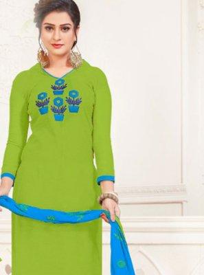 Green Silk Festival Churidar Salwar Kameez
