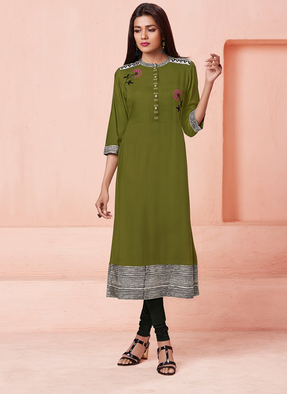 Green Thread Work Rayon Casual Kurti