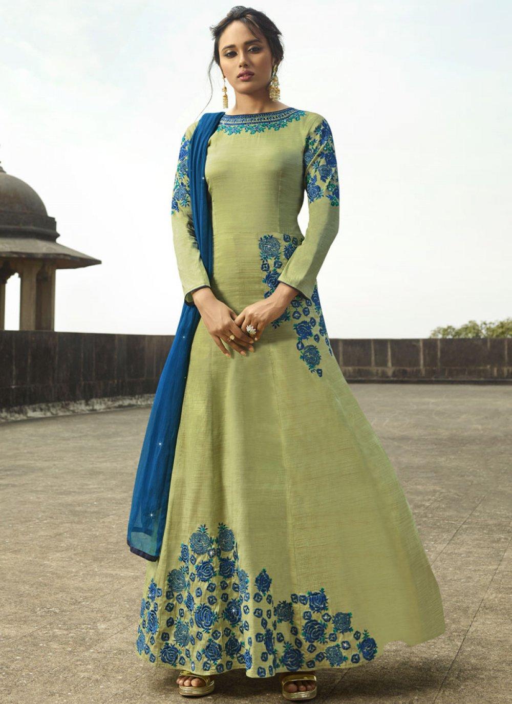 Green Tussar Silk Floor Length Anarkali Suit