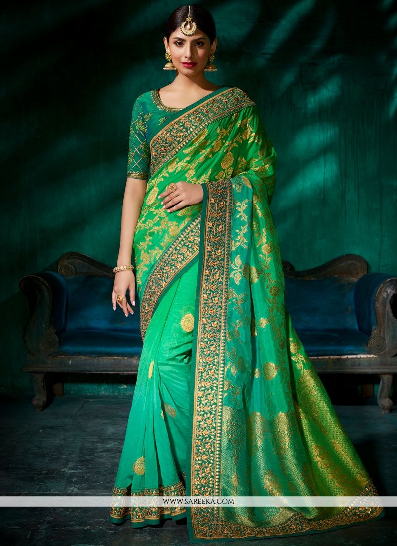 Green Viscose Shaded Saree