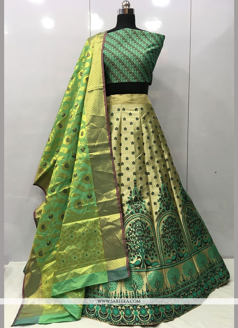 Green Weaving Work Jacquard Silk Lehenga Choli
