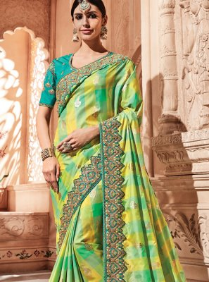 Green Zari Shaded Saree