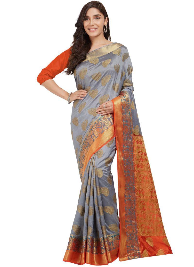 Grey Abstract Print Work Silk Traditional  Saree