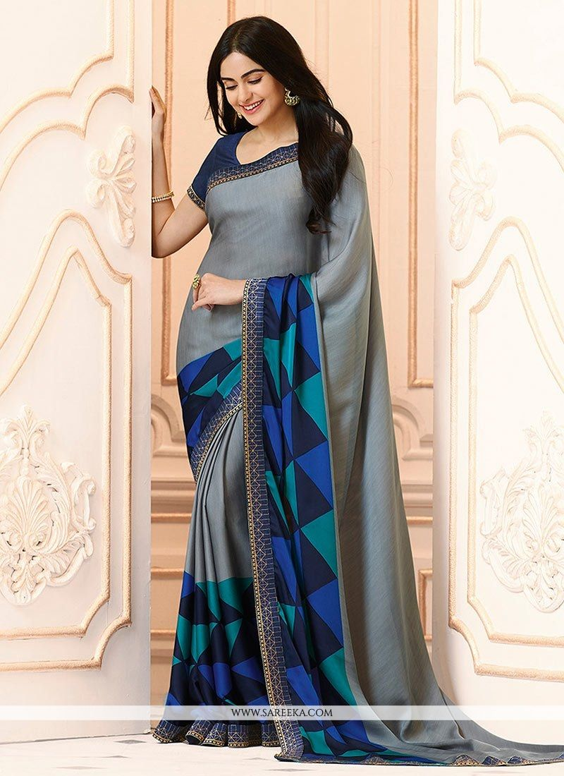Grey and Navy Blue Printed Work Work Casual Saree
