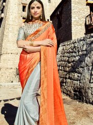 Grey and Orange Trendy Saree