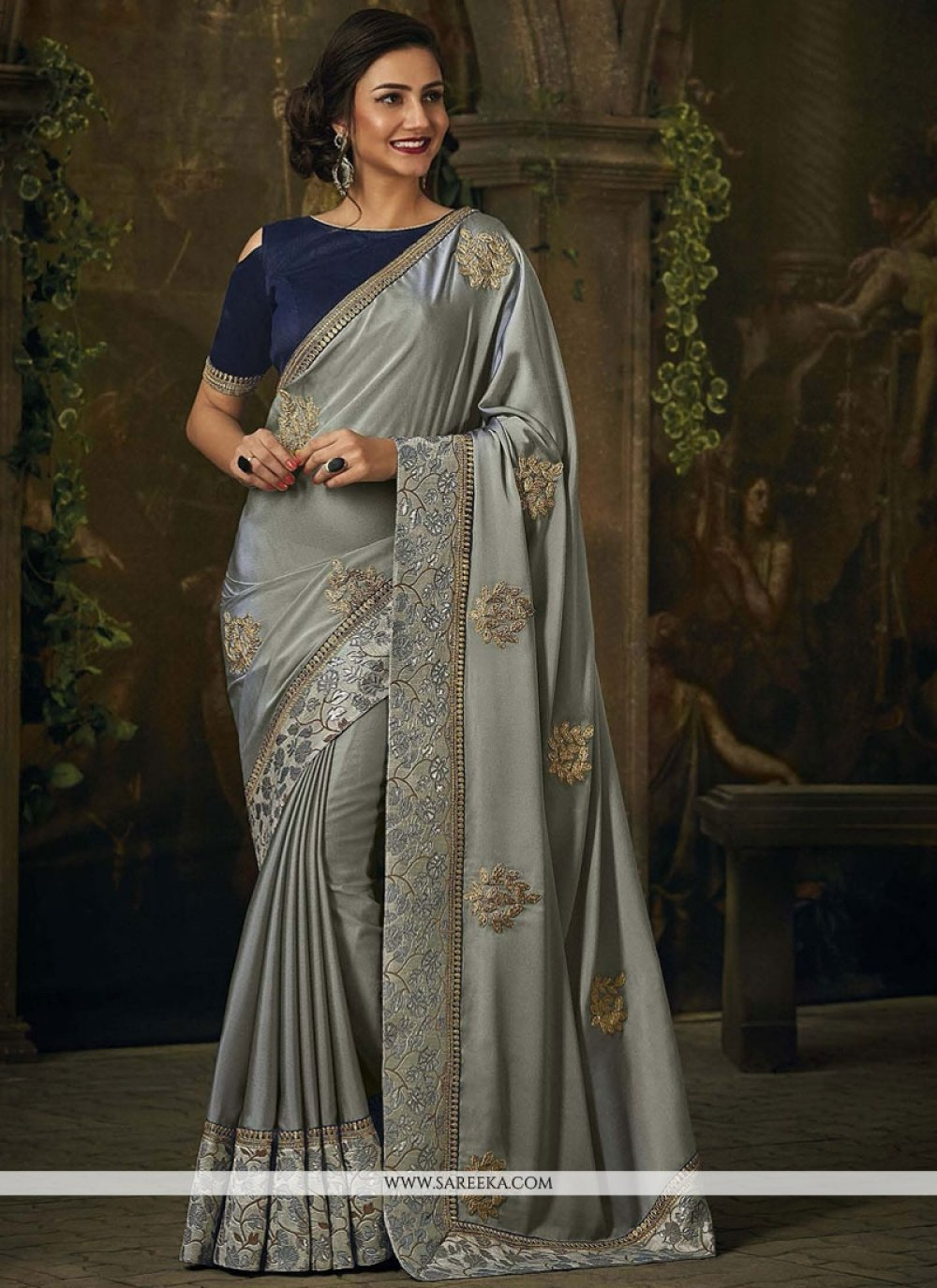 Grey Art Silk Traditional Designer Saree