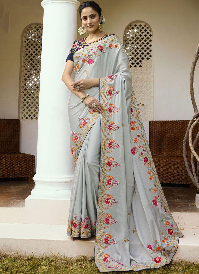 Grey Border Trendy Saree