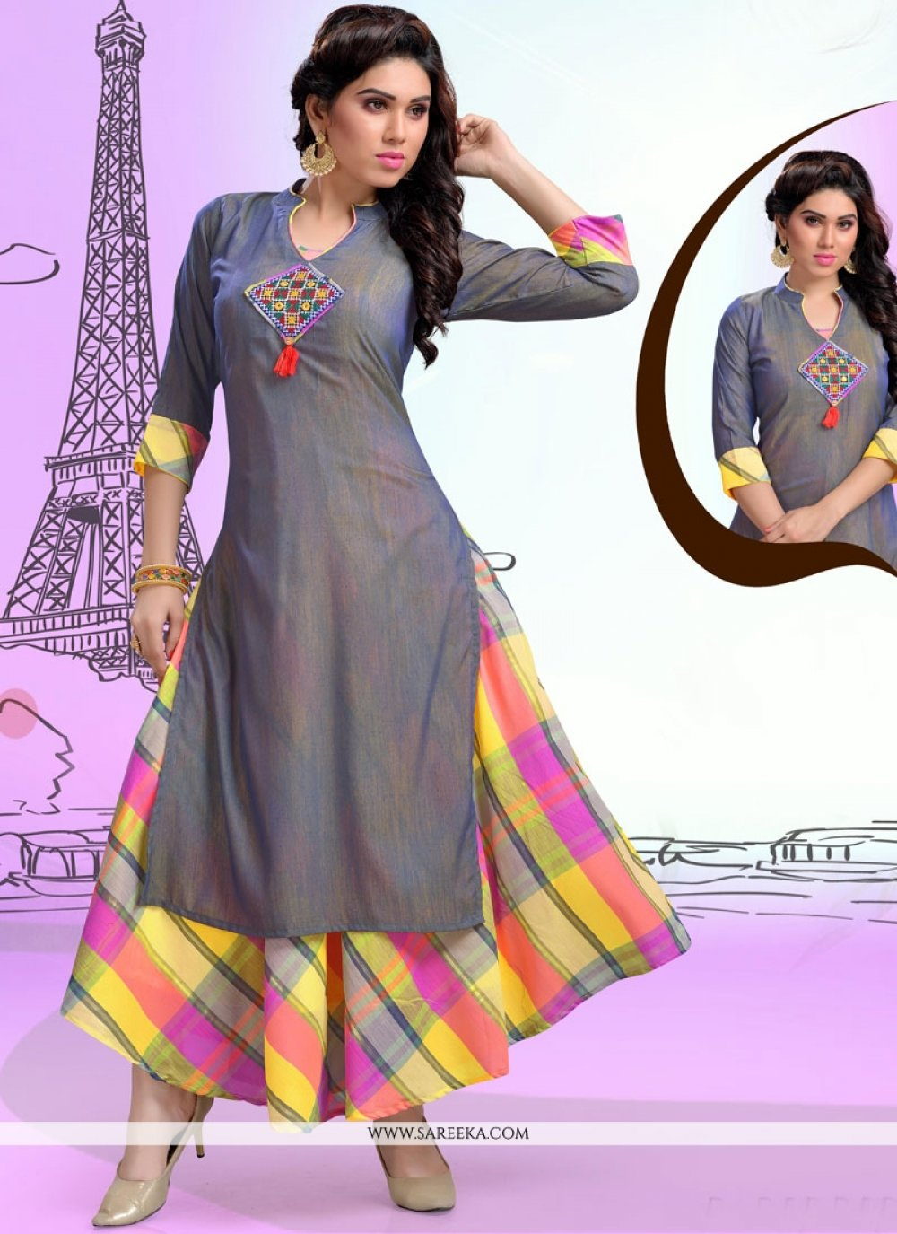 Grey Chanderi Party Wear Kurti