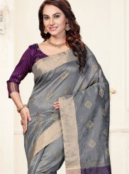 Grey Chanderi Traditional  Saree