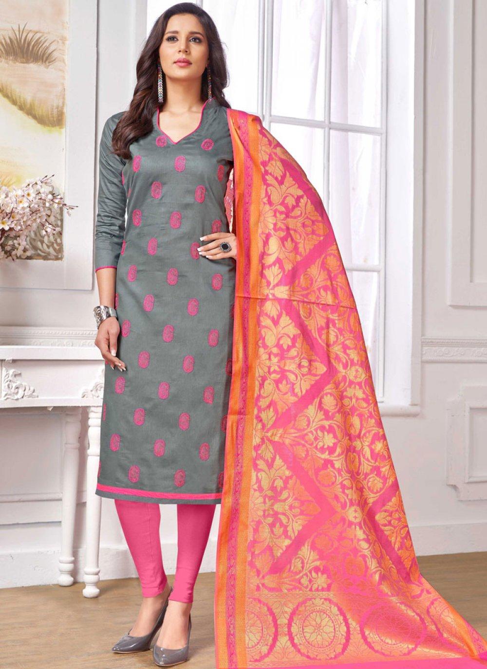Grey Cotton   Churidar Salwar Suit
