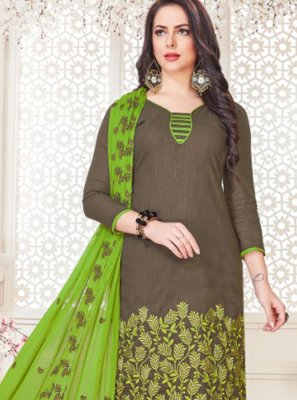 Grey Cotton   Embroidered Churidar Suit