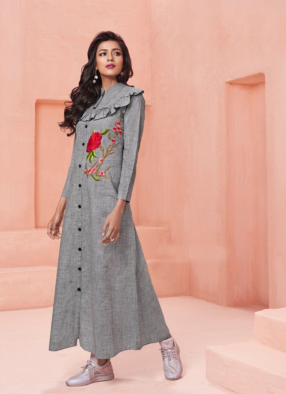 Grey Cotton   Party Designer Kurti