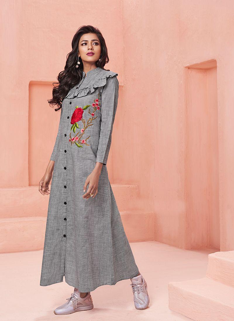 cad1ba0da5 Buy Grey Cotton Party Designer Kurti Online -