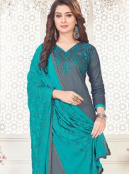 Grey Cotton Satin Embroidered Churidar Suit
