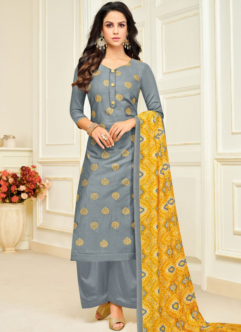 Grey Digital Print Silk Designer Palazzo Salwar Suit