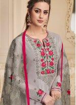 Grey Embroidered Art Silk Churidar Designer Suit