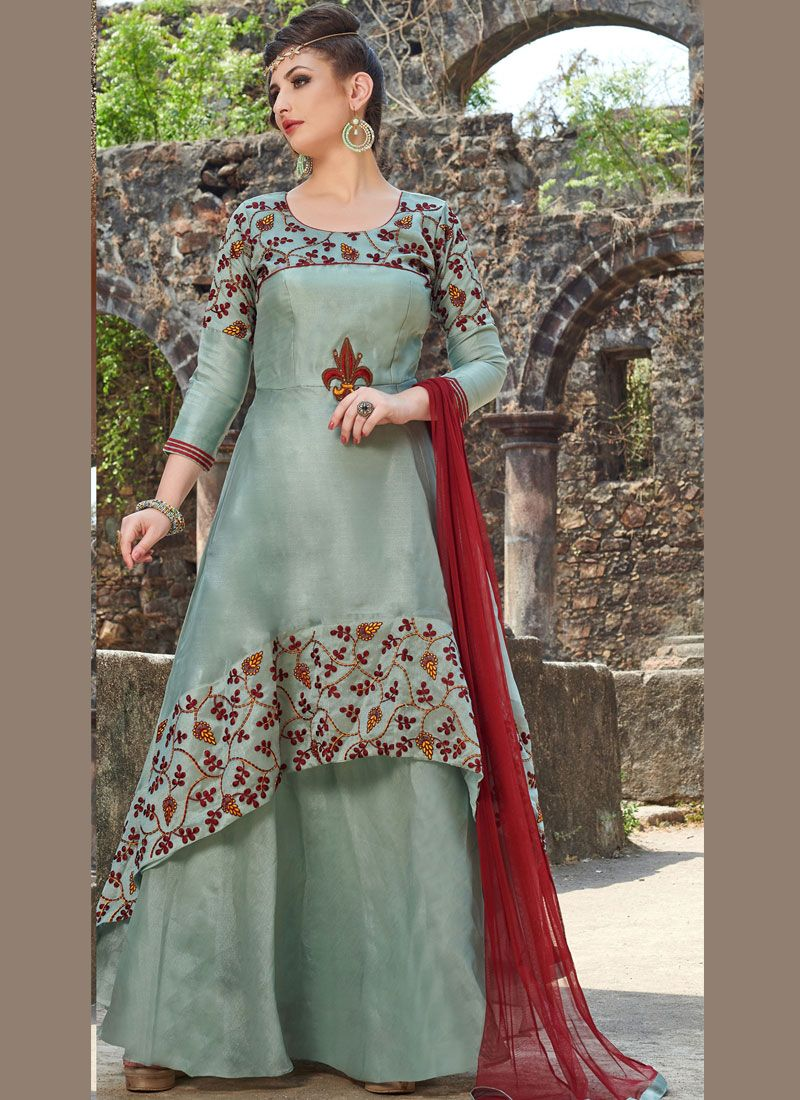 Grey Embroidered Art Silk Readymade Anarkali Suit