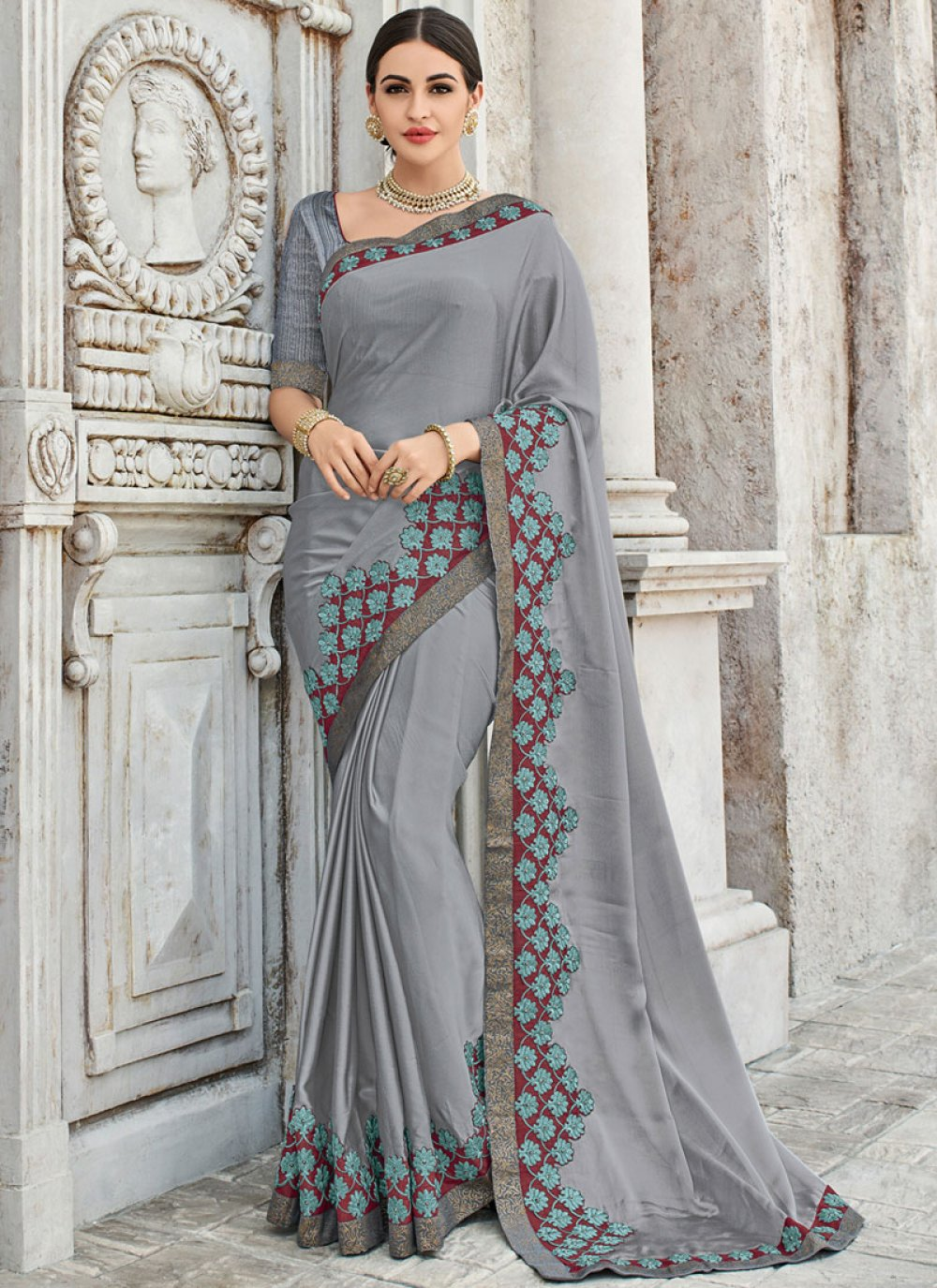 Grey Embroidered Faux Georgette Classic Designer Saree