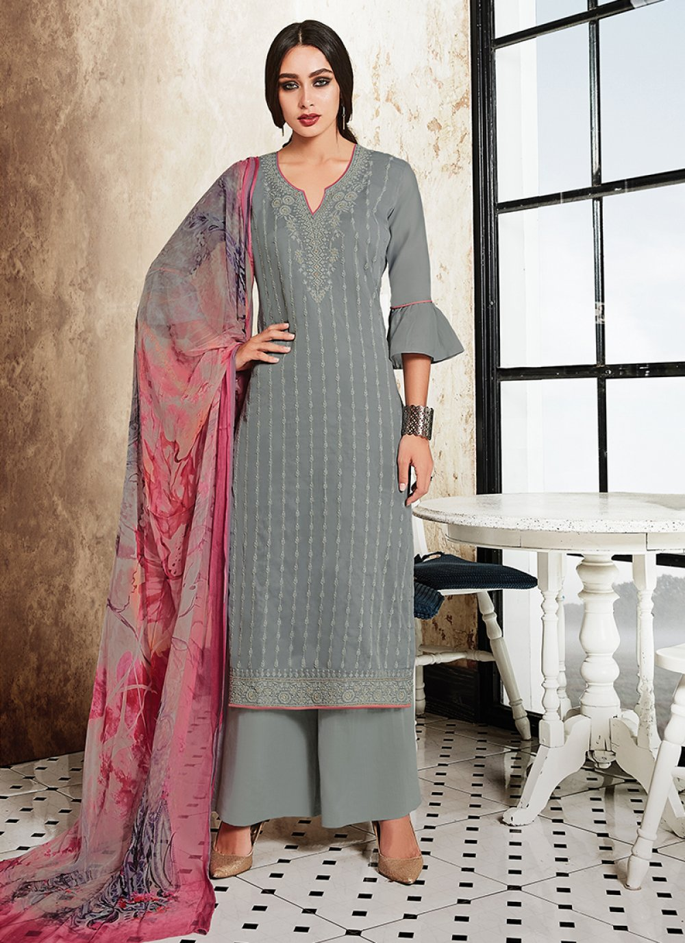 Grey Embroidered Satin Designer Palazzo Suit