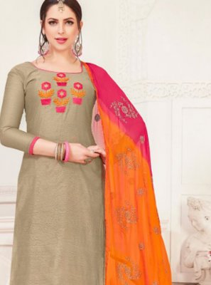 Grey Embroidered Silk Churidar Designer Suit