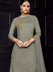 Grey Embroidered Viscose Designer Palazzo Suit