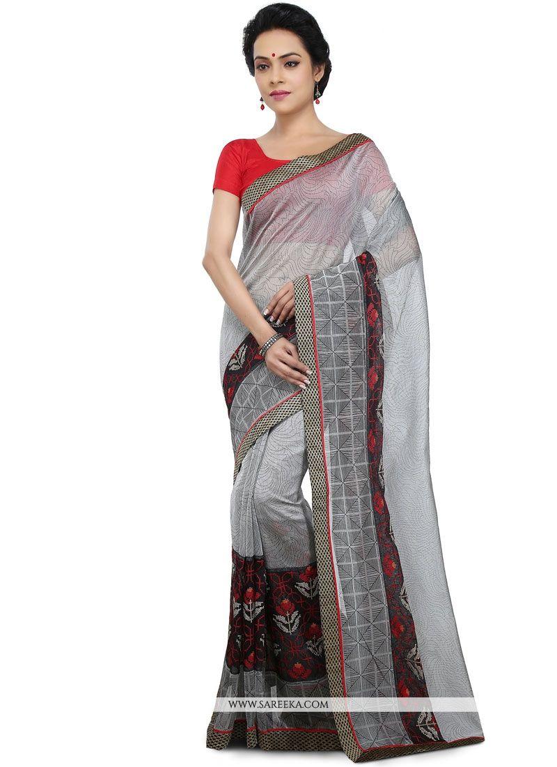 Grey Embroidered Work Chanderi Cotton Saree