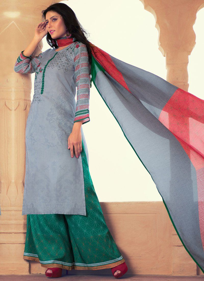 Grey Embroidered Work Designer Palazzo Suit