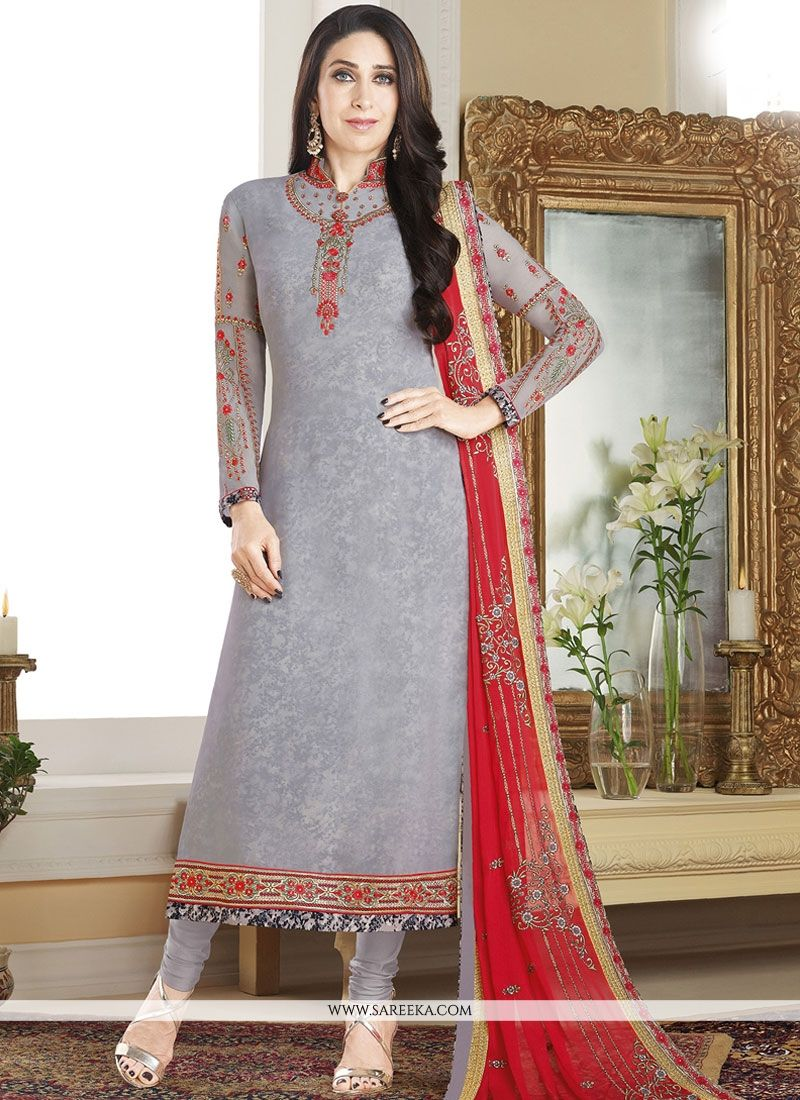 Grey Embroidered Work Faux Georgette Designer Straight Suit