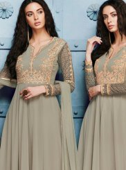 Grey Embroidered Work Georgette Anarkali Salwar Kameez