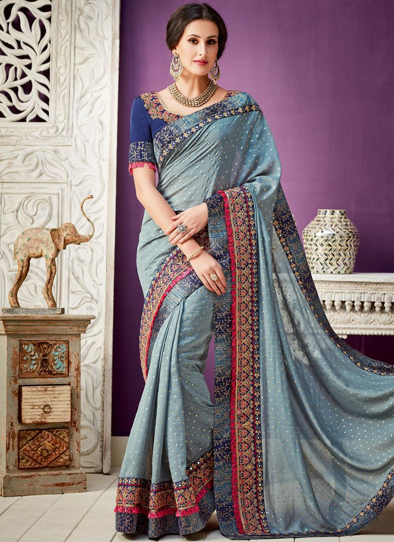 Grey Embroidered Work Georgette Designer Saree