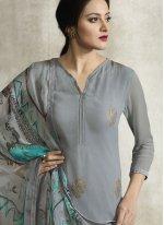 Grey Faux Georgette Print Designer Pakistani Suit