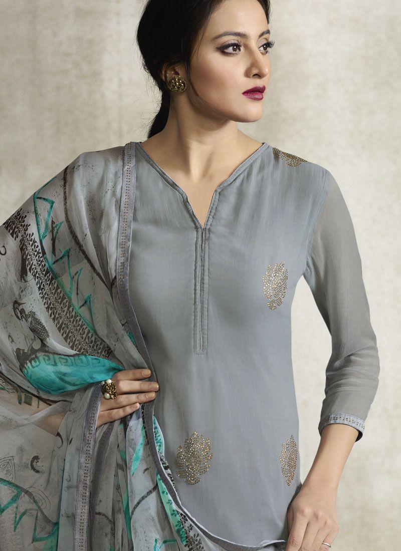 4e8e22a823 Buy Grey Faux Georgette Print Designer Pakistani Suit Online -