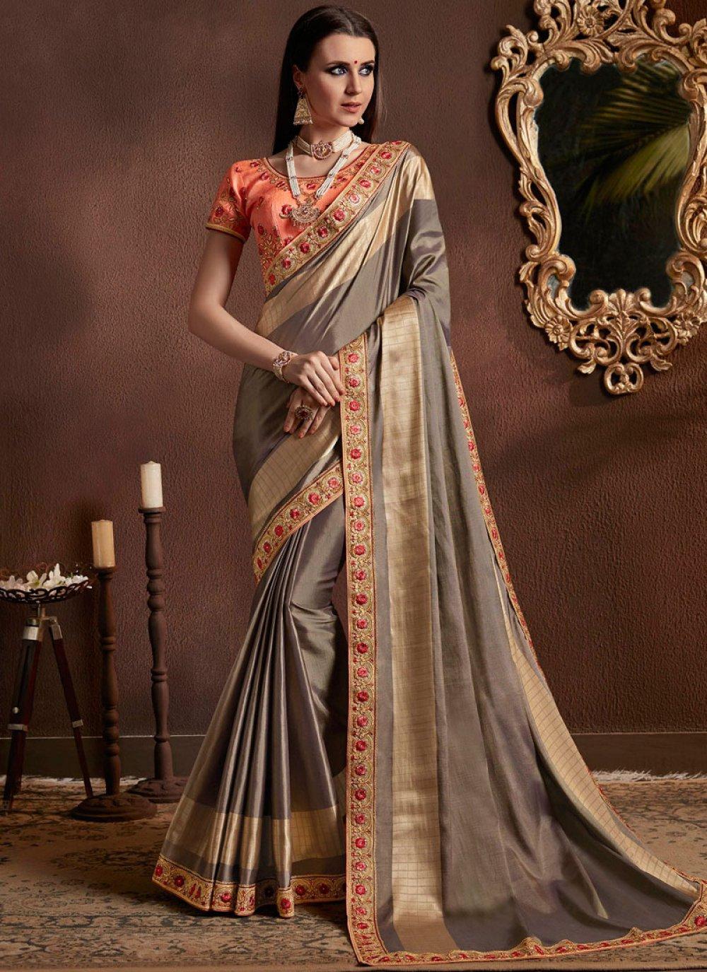 Grey Faux Georgette Resham Classic Designer Saree