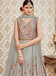 Grey Floor Length Anarkali Suit