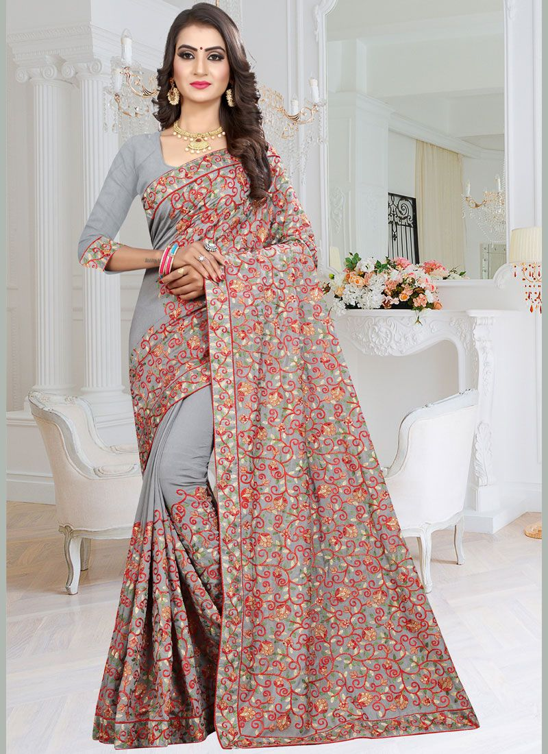 Grey Party Classic Designer Saree