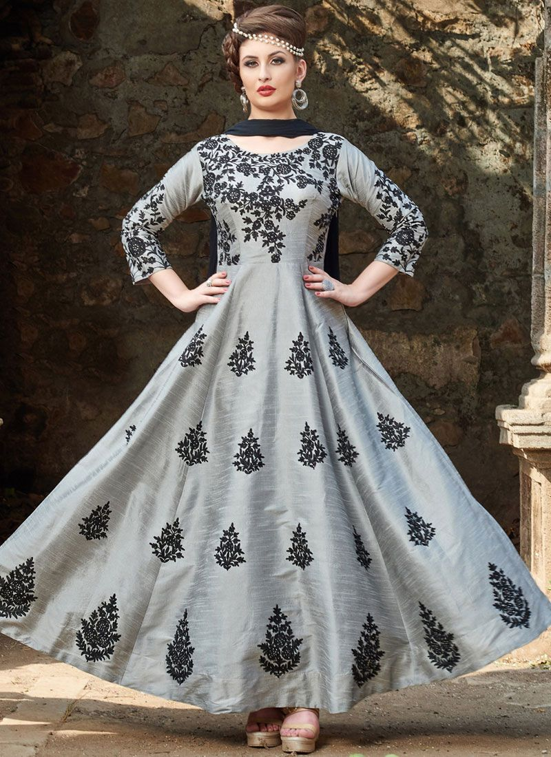 Grey Party Readymade Anarkali Suit