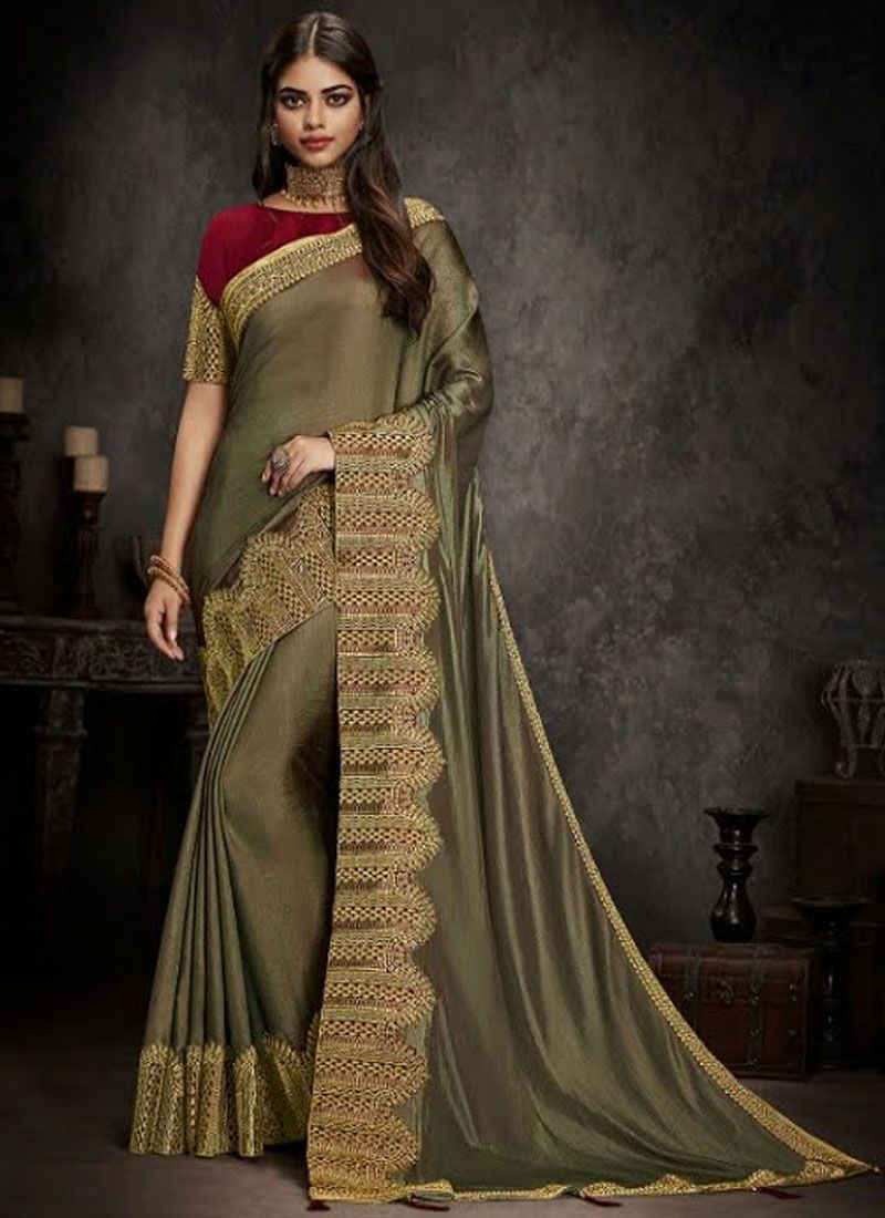 Grey Party Traditional Designer Saree