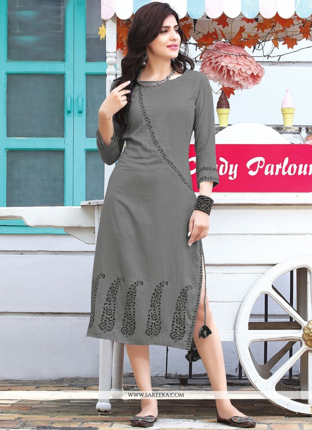 Grey Party Wear Kurti