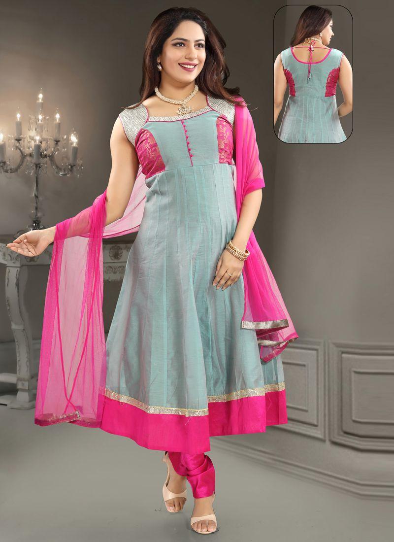 Grey Patchwork Salwar Kameez