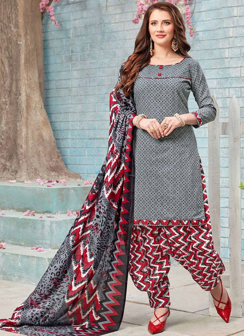 Grey Poly Cotton Punjabi Suit