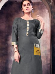 Grey Print Party Party Wear Kurti