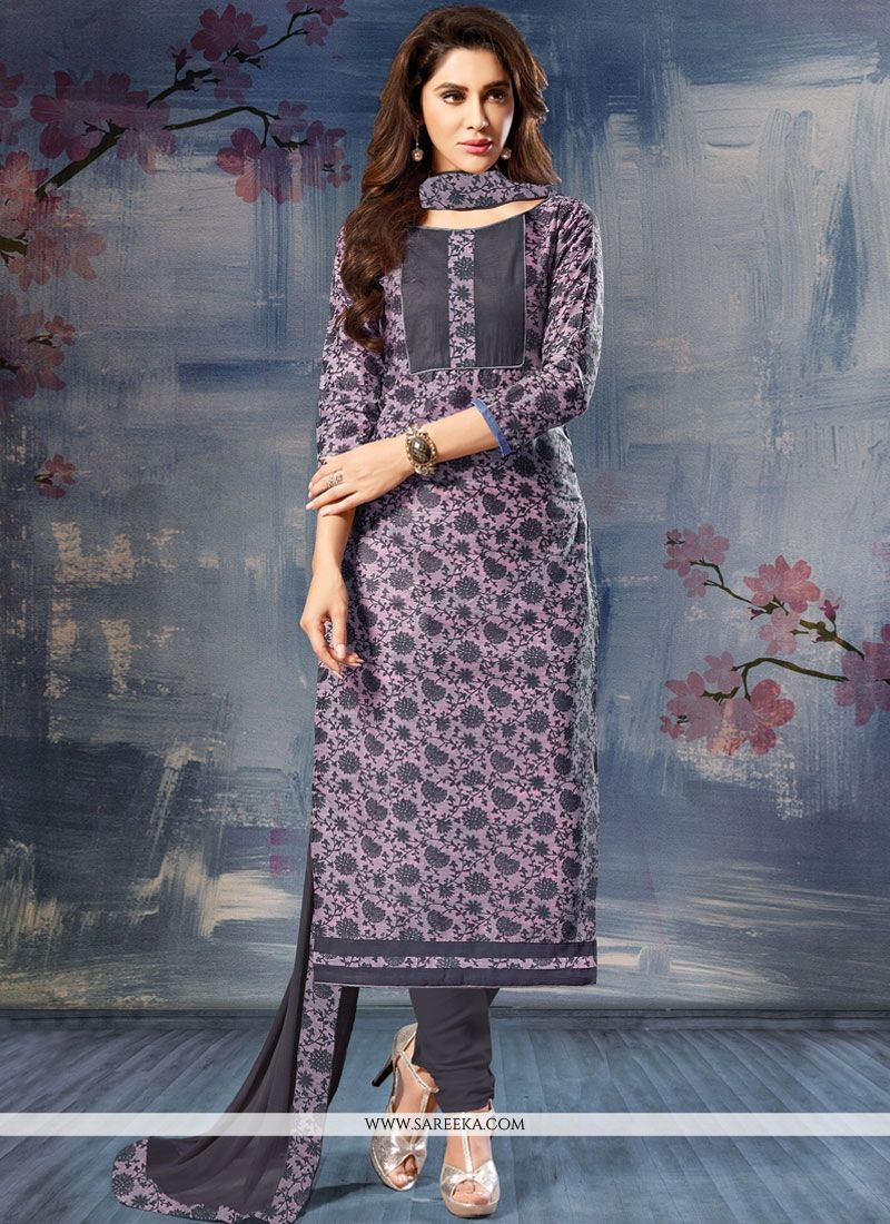 Grey Print Work Cotton Silk Churidar Suit