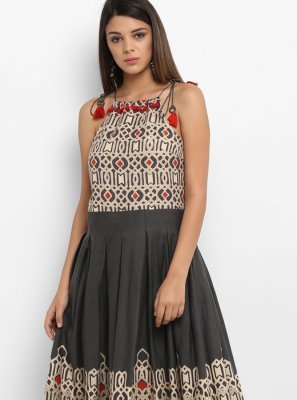 Grey Printed Work Cotton   Party Wear Kurti