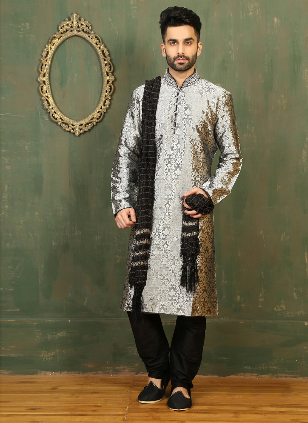 Grey Satin Kurta Pyjama with Embroidered
