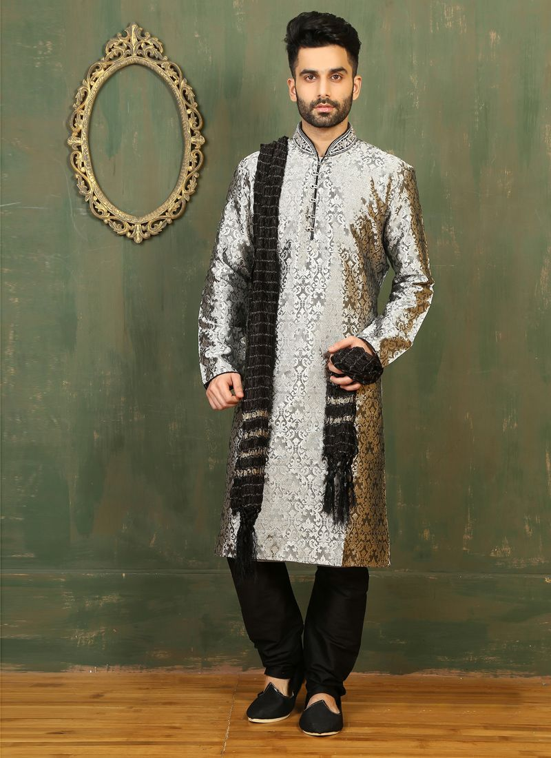 Grey Satin Kurta Pyjama with Embroidered