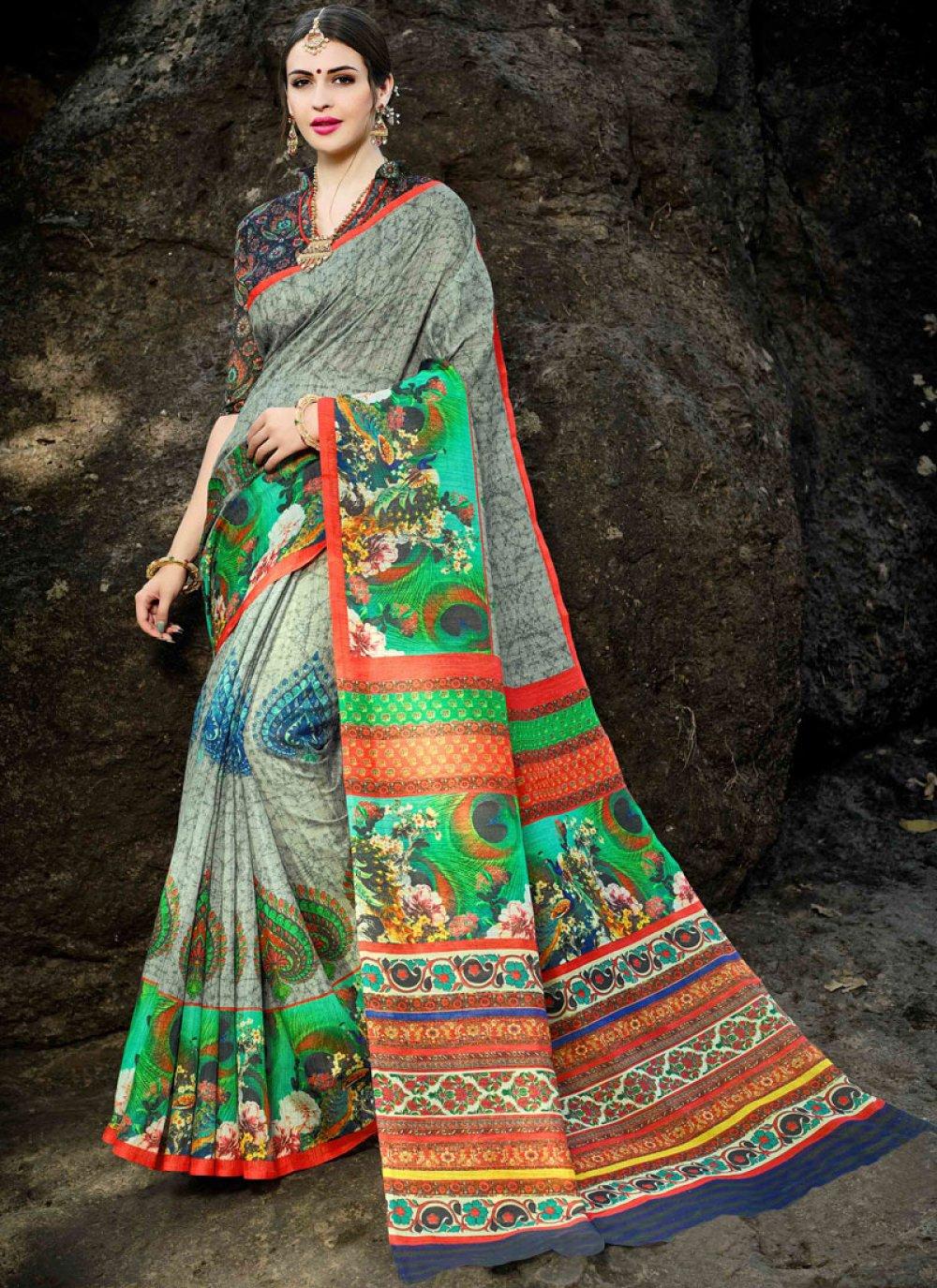 Grey Silk Festival Designer Saree