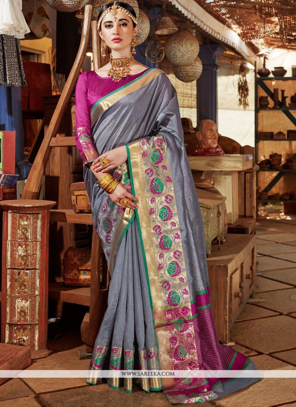 Grey Weaving Work Handloom silk Traditional  Saree