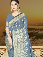 Grey Wedding Art Silk Designer Traditional Saree