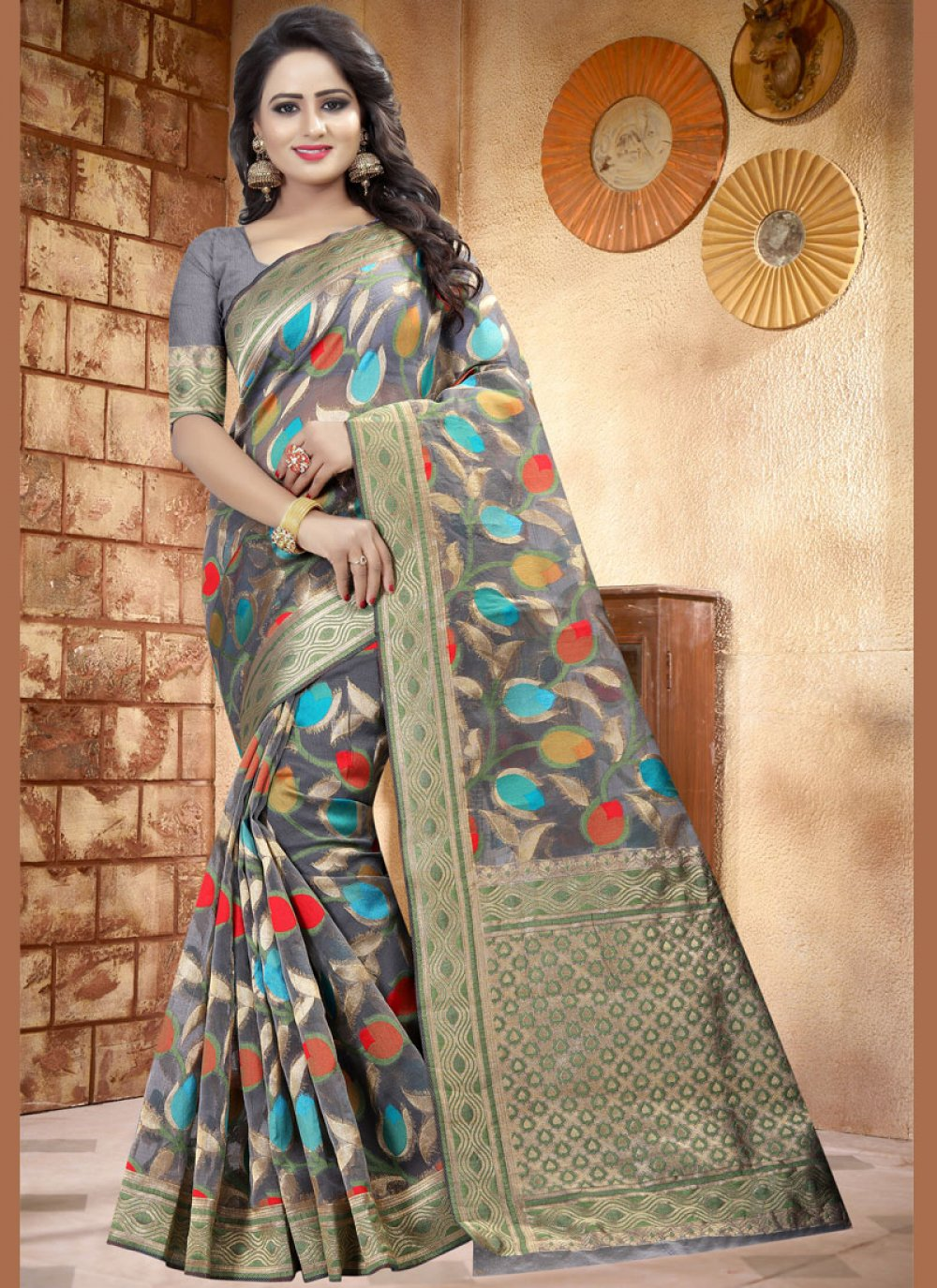 Grey woven Work Classic Designer Saree