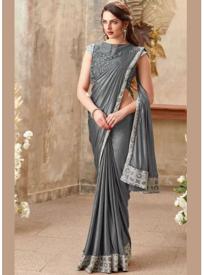 Grey Zari Designer Saree